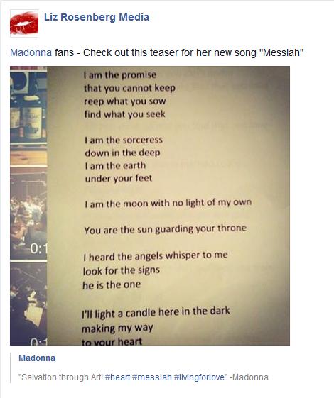 "LIZ ROSENBERG CONFIRMS NEW MADONNA'S SONG ""MESSIAH"" – squaremadonna"