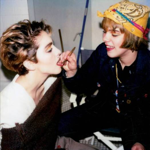 "Singer Madonna, left, and actress Debi Mazar get ready for a photo shoot in Bertoglio's studio in 1983.  The Polaroid camera was the iPhone camera of the 1980s, Bertoglio said.  ""I wasn't the person who started with the Polaroid"" he said. ""A lot of people were doing it."""